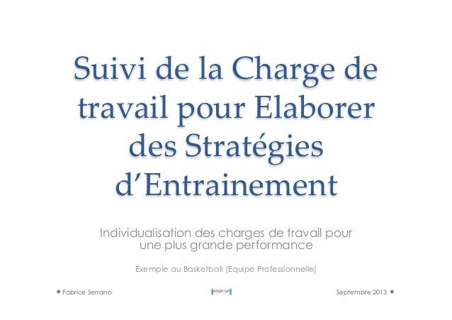 Suivi de la Charge de  travail pour Elaborer  des Stratégies  d'Entrainement Individualisation des charges de t...