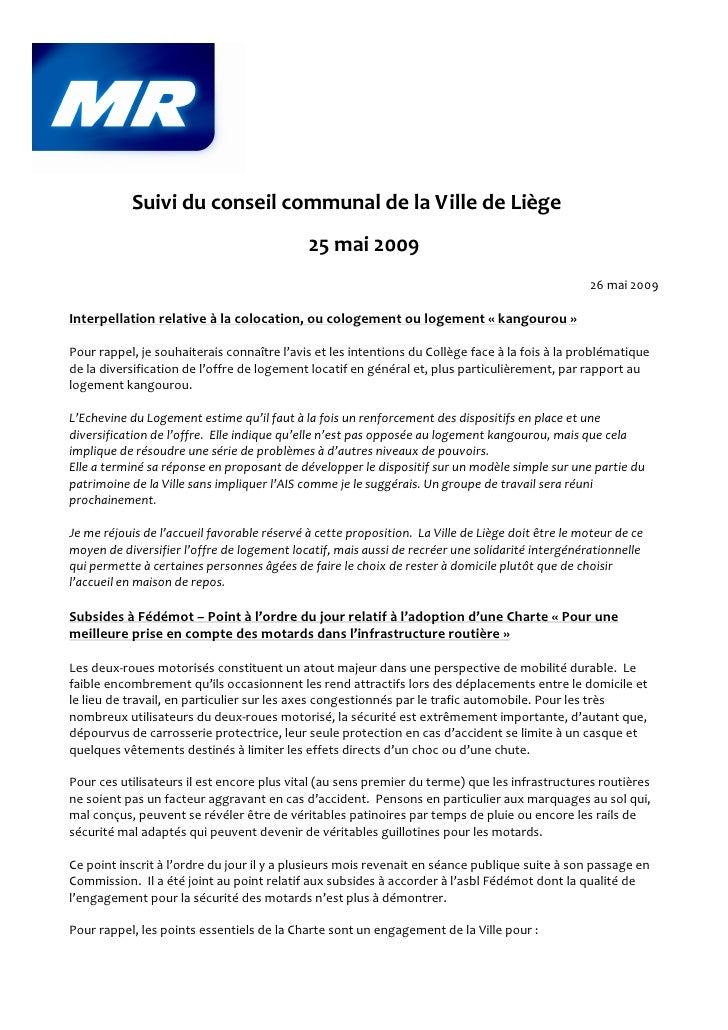 Suivi du conseil communal de la Ville de Liège                                              25 mai 2009                   ...