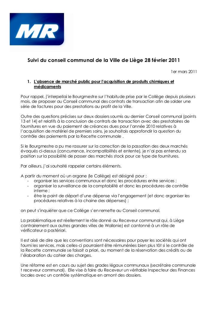 Suivi du conseil communal de la Ville de Liège 28 février 2011                                                            ...
