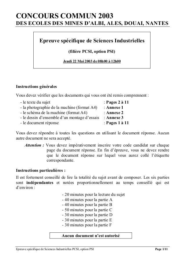 CONCOURS COMMUN 2003DES ECOLES DES MINES D'ALBI, ALES, DOUAI, NANTES                  Epreuve spécifique de Sciences Indus...