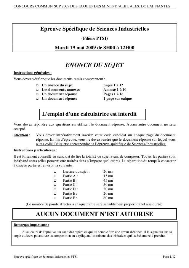 CONCOURS COMMUN SUP 2009 DES ECOLES DES MINES D'ALBI, ALES, DOUAI, NANTES                     Epreuve Spécifique de Scienc...