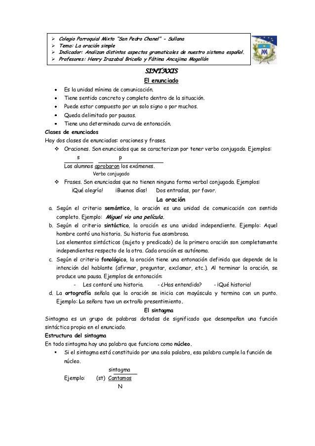 """     Colegio Parroquial Mixto """"San Pedro Chanel"""" - Sullana       Tema: La oración simple       Indicador: Analizan dist..."""