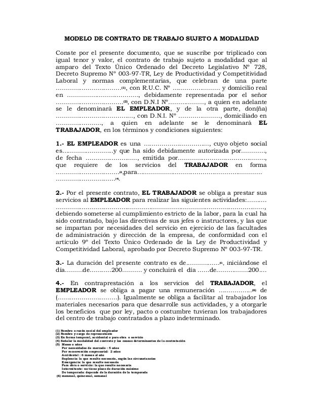 Contrato de trabajo sujeto modalidad formato Contrato trabajo