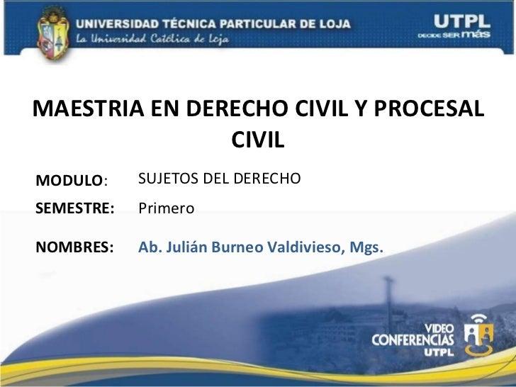 MAESTRIA EN DERECHO CIVIL Y PROCESAL CIVIL MODULO : NOMBRES: SUJETOS DEL DERECHO Ab. Julián Burneo Valdivieso, Mgs. SEMEST...