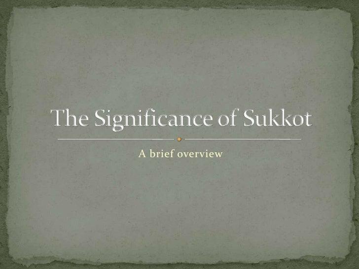 Sukkot training   significance of sukkot