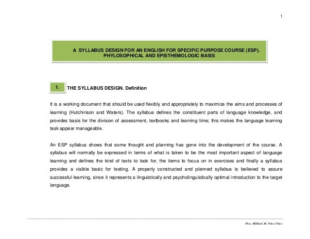 Dra. Mildred M. Pérez Pérez 1 THE SYLLABUS DESIGN. Definition It is a working document that should be used flexibly and ap...