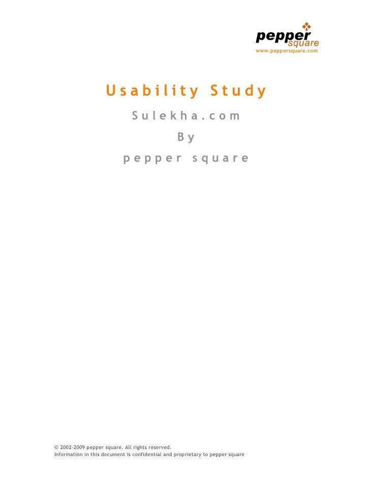 Sulekha.com Website Usability Study