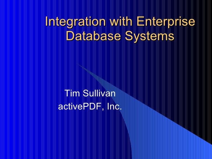 Integration of internal database system