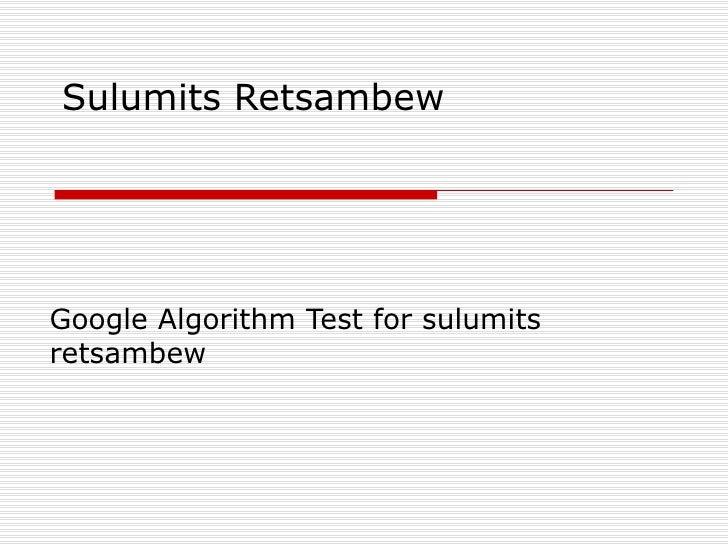 sulumits retsambew - Sulumits Retsambew Test 2009