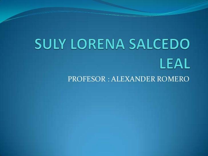 SULY LORENA SALCEDO LEAL<br />PROFESOR : ALEXANDER ROMERO<br />