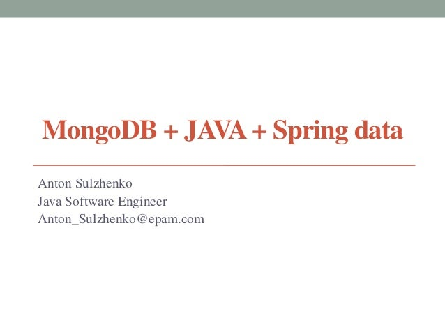 MongoDB + Java + Spring Data