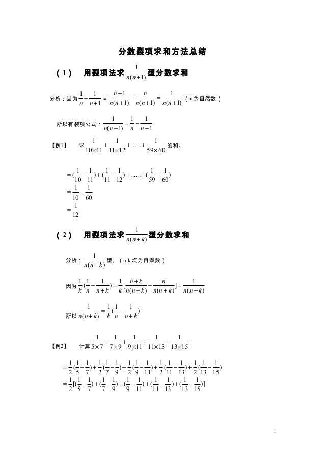 分数裂项求和方法总结(1) 用裂项法求1( 1)n n +型分数求和分析:因为1 11n n−+=1 1( 1) ( 1) ( 1)n nn n n n n n+− =+ + +(n 为自然数)所以有裂项公式:1 1 1( 1) 1n n n ...
