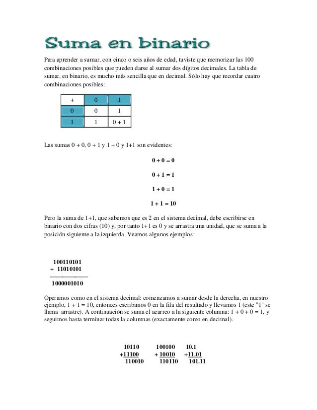 Suma en binario