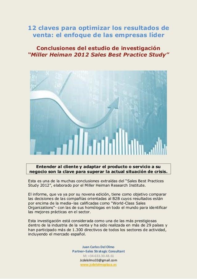 12 claves para optimizar los resultados de venta: el enfoque de las empresas líder Conclusiones del estudio de investigaci...