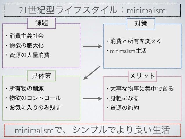 21世紀型ライフスタイル:minimalism     課題                 対策・消費主義社会               ・消費と所有を変える・物欲の肥大化               ・minimalism生活・資源の大量...