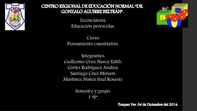 """CENTRO REGIONAL DE EDUCACIÓN NORMAL """"DR. GONZALO AGUIRRE BELTRÁN"""". Licenciatura: Educación preescolar. Curso: Pensamiento ..."""
