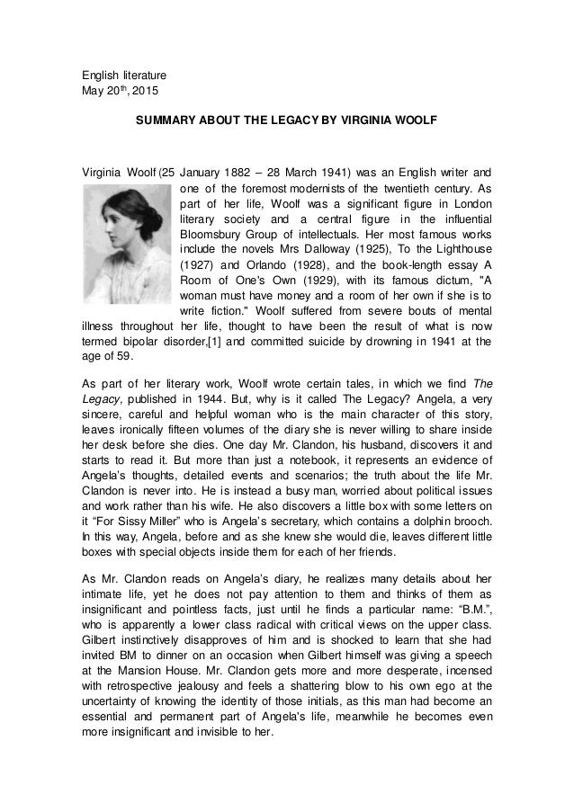 """essay on writing by virginia woolf Free essay: the widow and the parrot"""", written by virginia woolf, is a tale that speaks of the power of wisdom along with the origin of true rewards."""