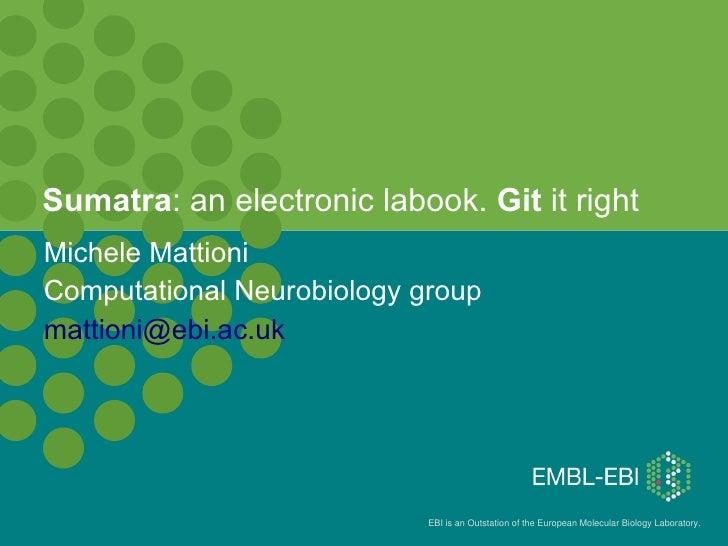 Sumatra: an electronic labook. Git it right Michele Mattioni Computational Neurobiology group mattioni@ebi.ac.uk          ...
