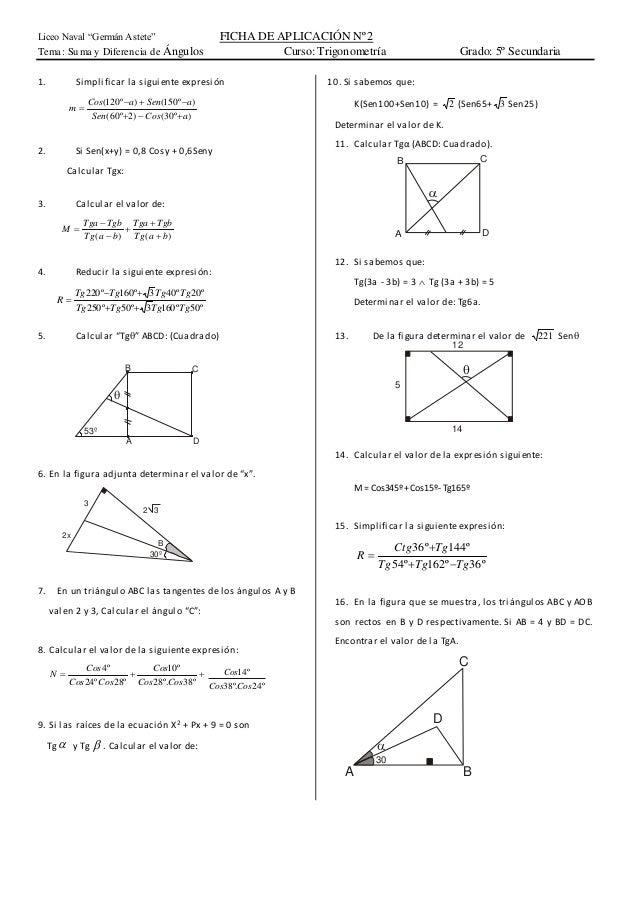 Suma y diferencia de ángulos