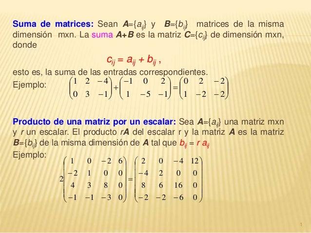 Suma de matrices: Sean A={aij} y B={bij} matrices de la misma dimensión mxn. La suma A+B es la matriz C={cij} de dimensión...