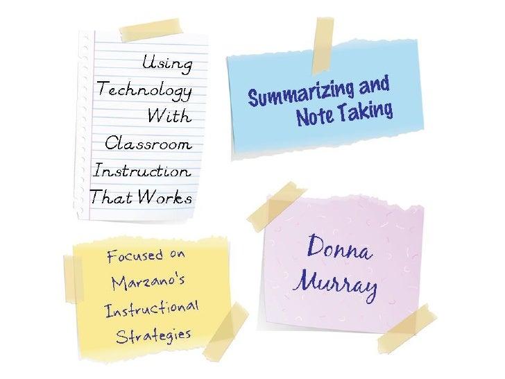 Marzano: Summarizing and Note Taking