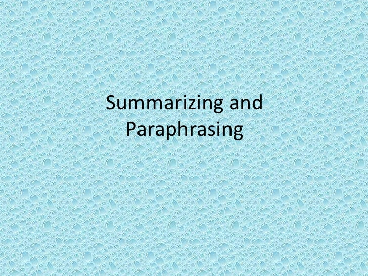 5th Grade - Summarizing and Paraphrasing