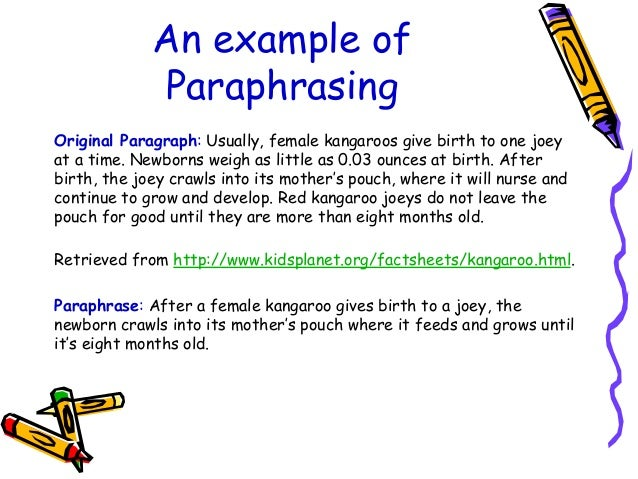 An example of Teaching Slide #5 in my Paraphrasing: A Writer'-s ...