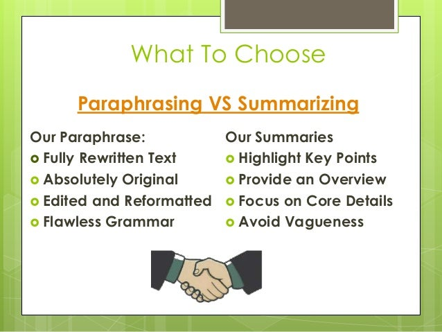 Difference between summary paraphrase and direct quote
