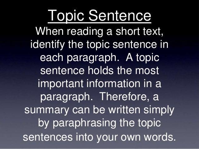 How to summarize a sentence
