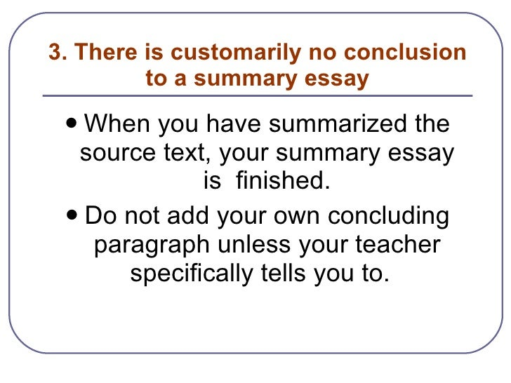 Examples of a summarize essay