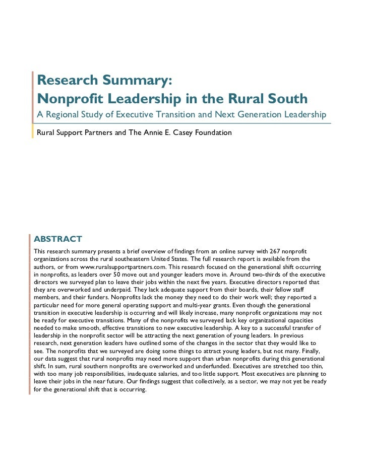 Research Summary: Nonprofit Leadership in the Rural South A Regional Study of Executive Transition and Next Generation Lea...