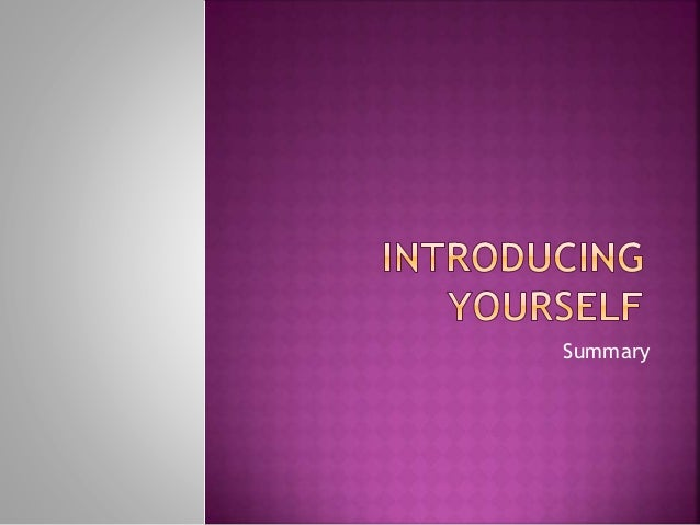 Introducing Oneself