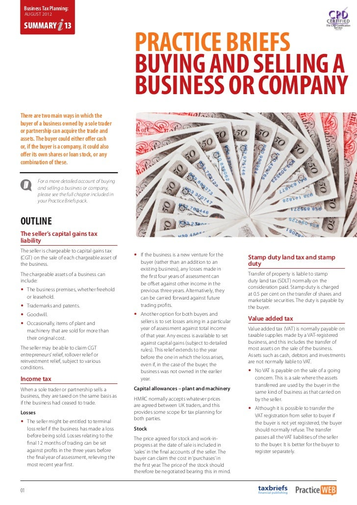 Business Tax Planning August 2012 - Summary 13