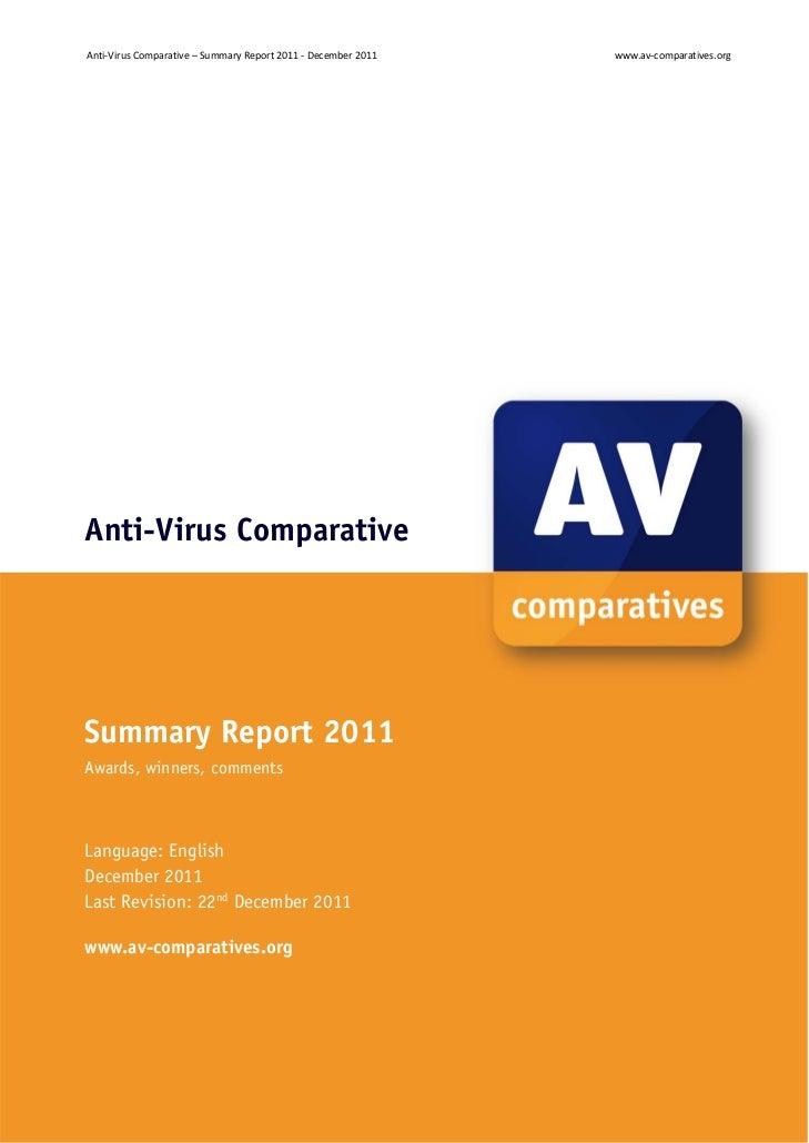 Anti‐VirusComparative–SummaryReport2011‐December2011            www.av‐comparatives.orgAnti-Virus ComparativeSum...