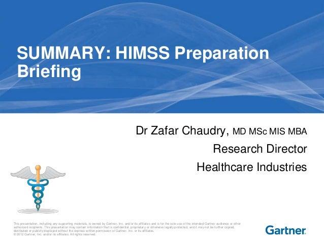 Summary HIMSS Preparation Briefing