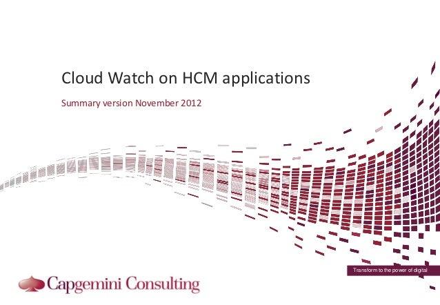 Summary of Capgemini Cloud Watch On HCM Solutions Q3 2012
