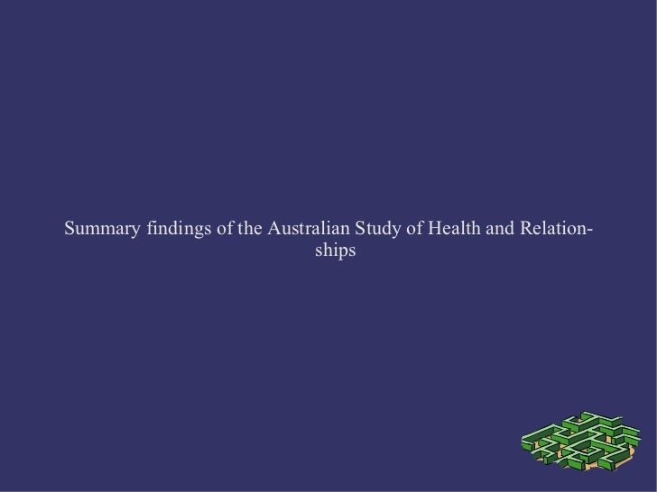 Summary findings of the Australian Study of Health and Relationships