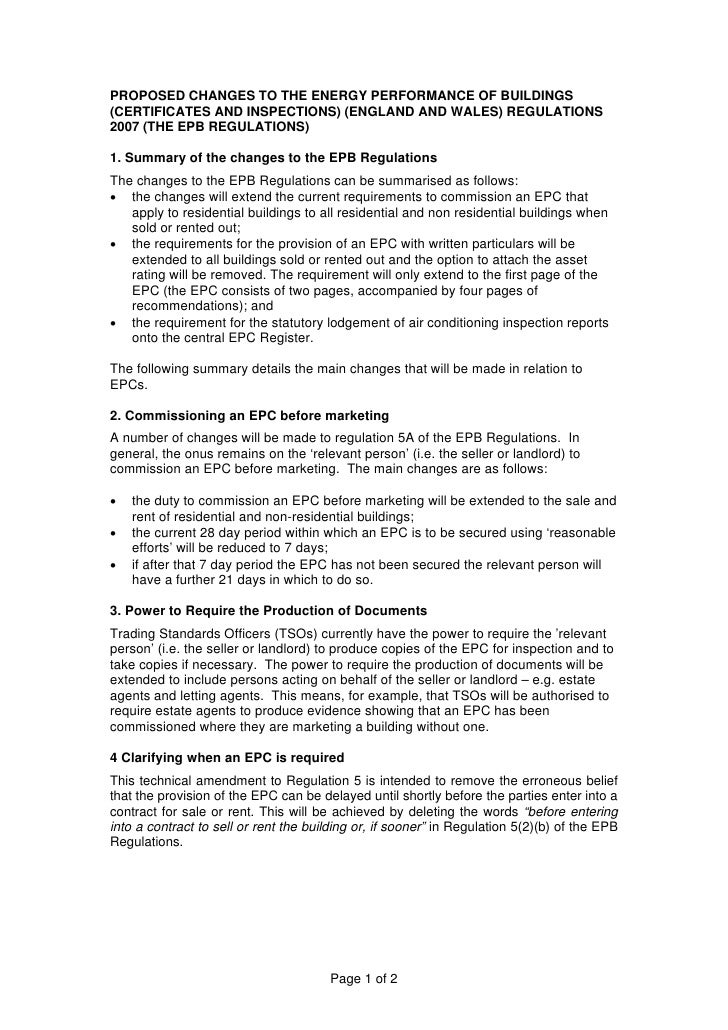 PROPOSED CHANGES TO THE ENERGY PERFORMANCE OF BUILDINGS(CERTIFICATES AND INSPECTIONS) (ENGLAND AND WALES) REGULATIONS2007 ...