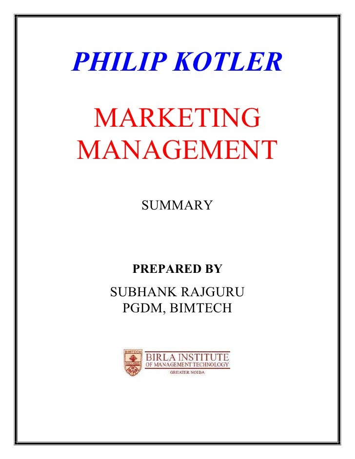 Summary Marketing Management: Chapter 1-12