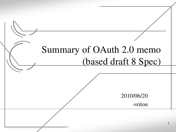 Summary of OAuth 2.0 memo         (based draft 8 Spec)                     2010/06/20                       =ritou        ...