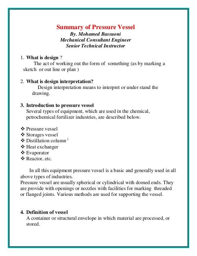 Summary Of Pressure Vessel 1