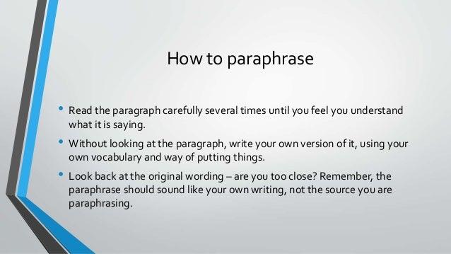 Paraphrasing paragraphs
