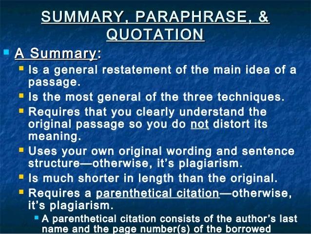 Paraphrase summary