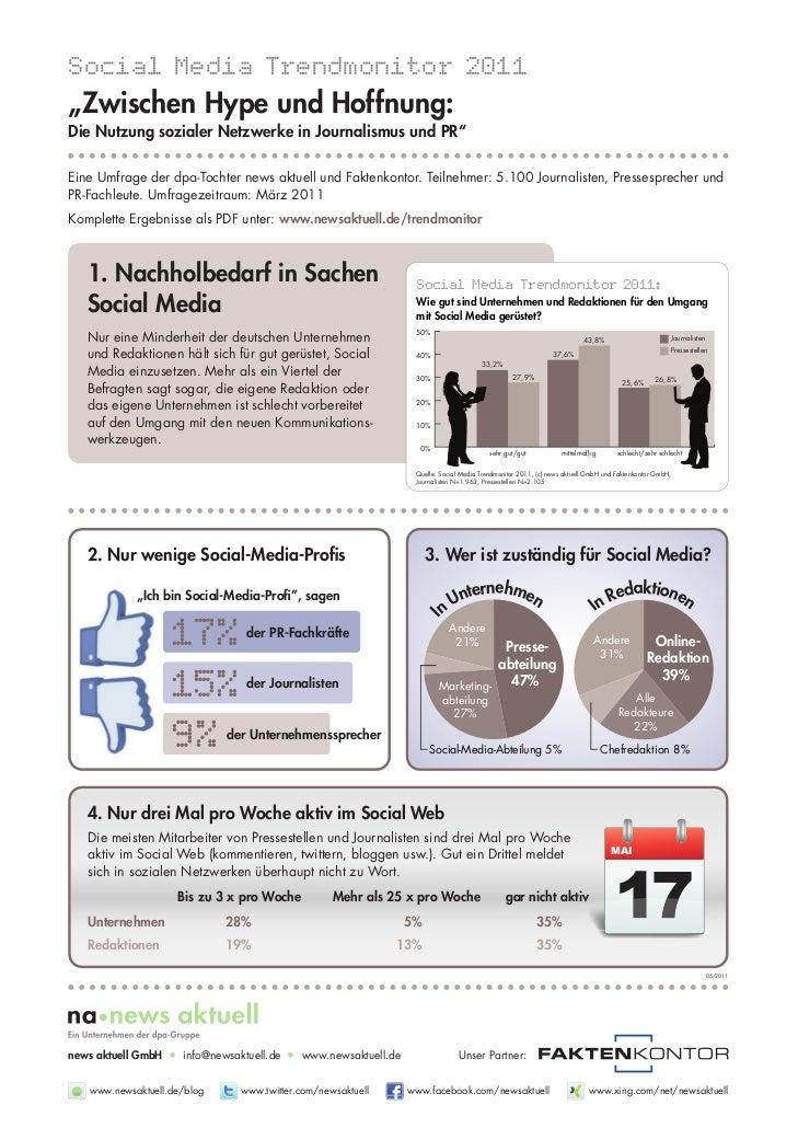 """Social Media Trendmonitor 2011""""Zwischen Hype und Hoffnung:Die Nutzung sozialer Netzwerke in Journalismus und PR""""Eine Umfra..."""