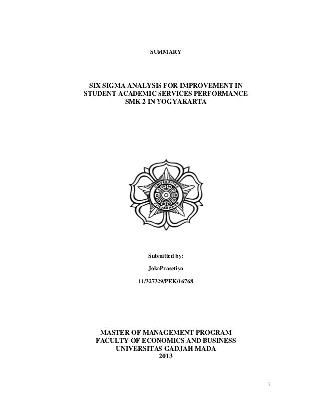 Phd thesis six sigma