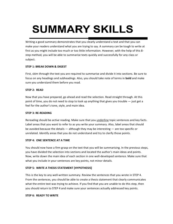 SUMMARY SKILLSWriting a good summary demonstrates that you clearly ...