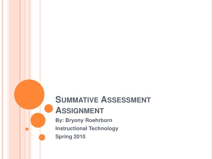 Summative Assessment Assignment<br />By: Bryony Roehrborn<br />Instructional Technology <br />Spring 2010<br />