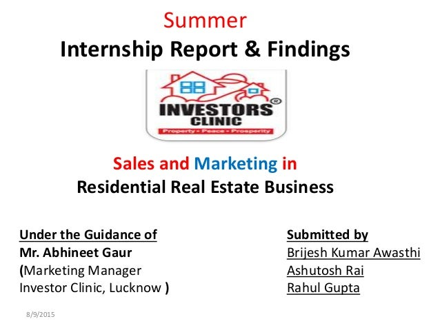 Real estate internship report