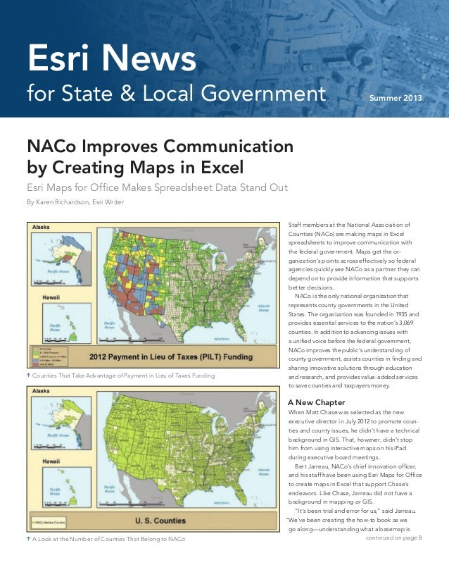 NACo Improves Communicationby Creating Maps in ExcelEsri Maps for Office Makes Spreadsheet Data Stand OutBy Karen Richards...