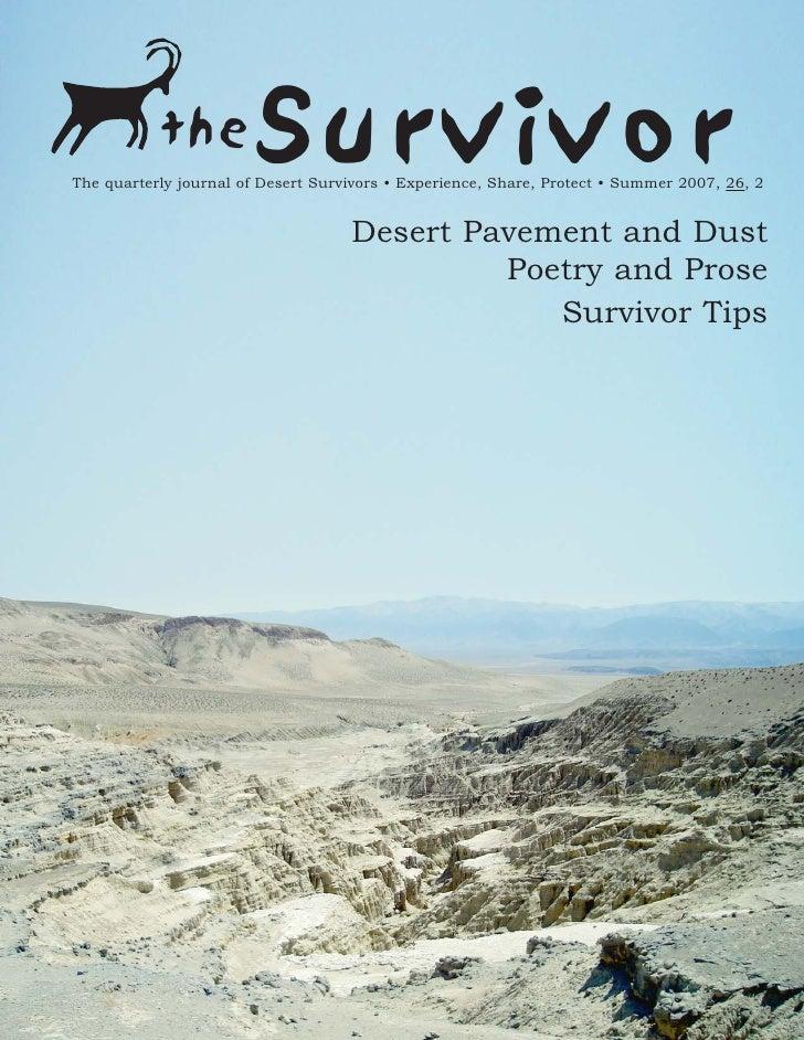 the          SurvivorThe quarterly journal of Desert Survivors • Experience, Share, Protect • Summer 2007, 26, 2          ...